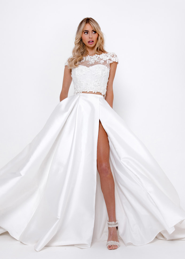 Full ballgown bridal skirt with a thigh split